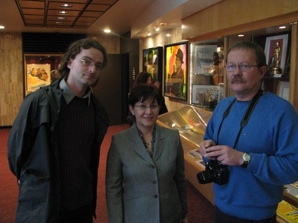 Crispin Brooks, Archive Curator; Inna Gogina, Coordinator of International Program; with film director Sergey Bukovsky.