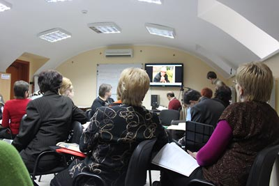 Seminar participants view eyewitness testimony, part of the Ukrainian Famine lesson.