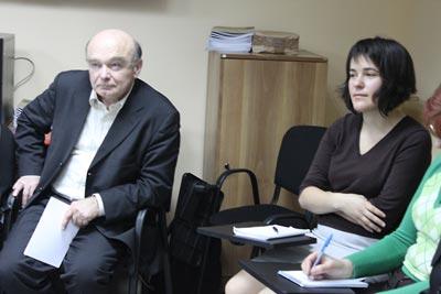Holodomor historian Stanislav Kulchitsky; and Institute Regional Consultant in Ukraine, Anna Lenchovska.