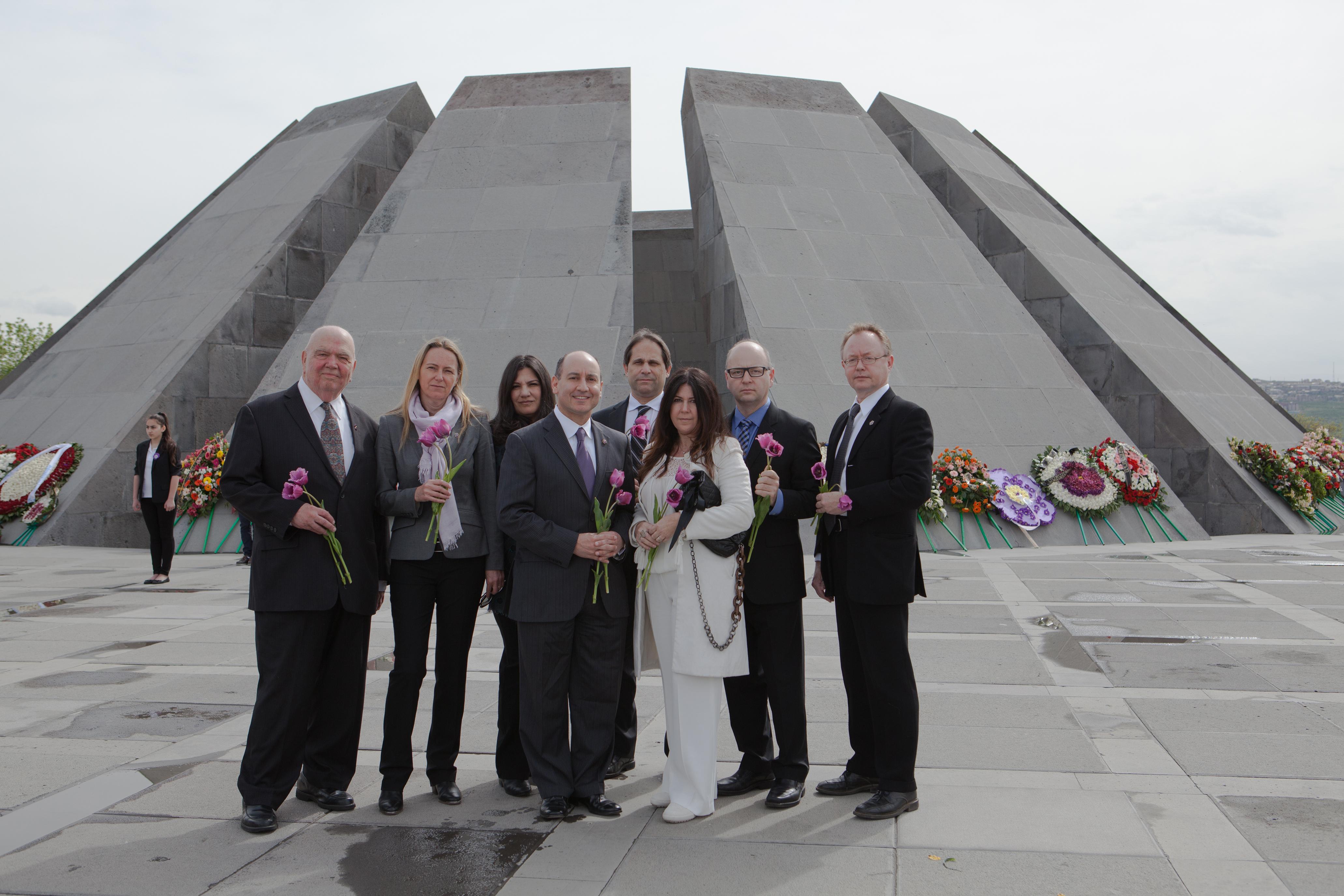 L-R: Richard Hovannisian, Karen Jungblut, Bonnie Zev, Michael Amerian, Ari Zev, Heather Maio, Stephen Smith and Wolf Gruner at the Armenian Genocide Memorial