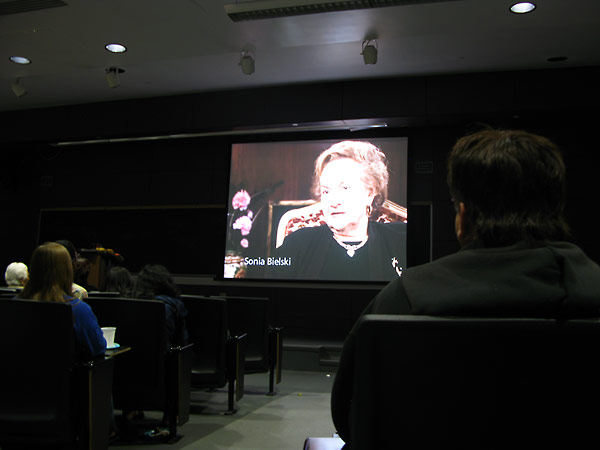 The Institute showed clips of testimony in which Holocaust survivors recalled their experiences as Bielski Partisans.
