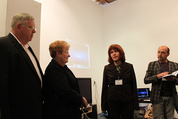 From left:  John F. Tefft, U.S. Ambassador to Ukraine, and Mariella Cellitti Tefft; Anna Lenchovska, USC Shoah Foundation Institute Regional Consultant in Ukraine; and Oleksandr Voytenko, author of Pain of Memory.