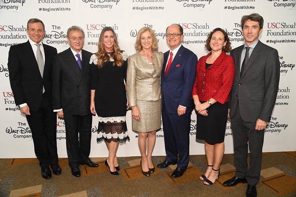 Robert Iger, Mickey Shapiro, Erica Kives, Niki Nikias, USC President Max Nikias, Dean Amber Miller and Jonathan Neil