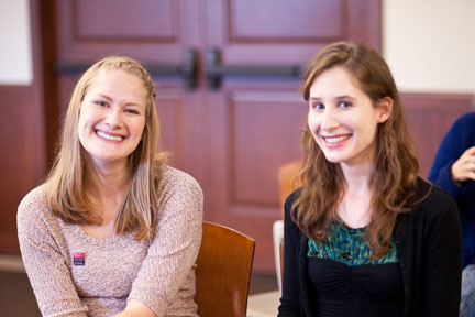 Left to right:  USC Shoah Foundation Institute Interns Arielle Gillman and Emily Loynachan.