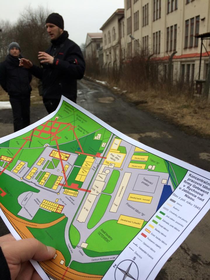 Ivan Rous explaining history of Reichenau camp and its underground.