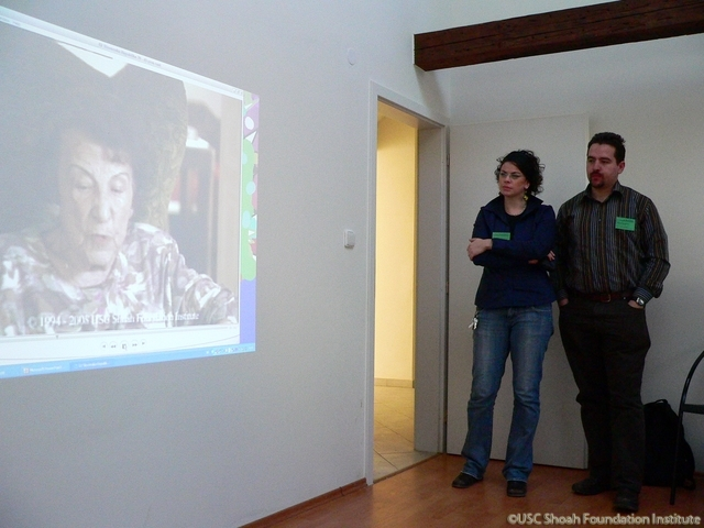 Historian Ján Hlavinka and Daniela Richterová, from the Center for Documentation of the Holocaust, viewing Katarína Lofflerová's testimony clip, November 2008.