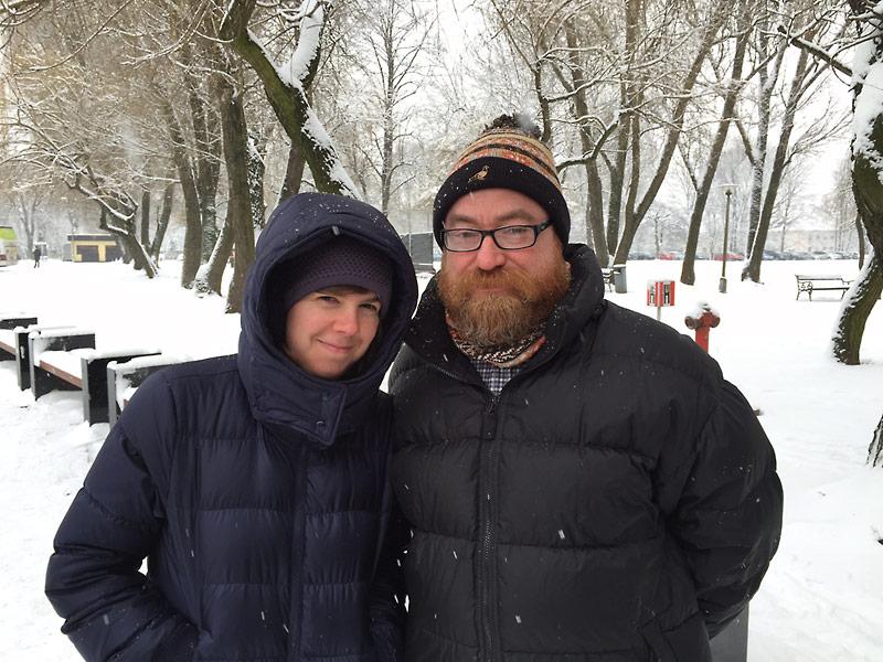 Jeffrey Langham with Robin Migdol at Auschwitz