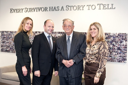 Yehuda Bauer, with senior staff of the USC Shoah Foundation Institute.  From left:  Karen Jungblut, Director of Research and Documentation; Stephen D. Smith, Executive Director; Yehuda Bauer; and Kim Simon, Managing Director.