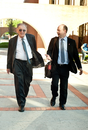 Yehuda Bauer (left), and Stephen D. Smith, Executive Director of the USC Shoah Foundation Institute.