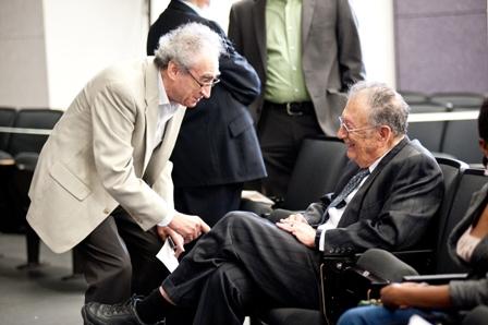 Richard H. Dekmejian (left), USC Professor of Political Science, and Yehuda Bauer.