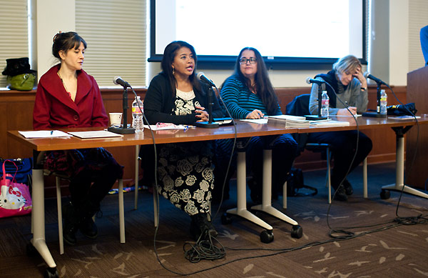 The lecture panel, from left to right:  Betsy Salkind; Velina Hasu Houston; Laurie Woolery; and Ruth Weisberg.