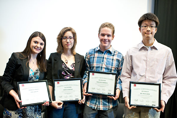 From left:  Viewer's Choice Award Recipient Zoe Jablow; Contest Winners Kayla Carlisle and Will Merrick; and Runner Up Jee Woo Choi.
