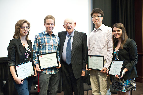 From left:  Contest Winners Kayla Carlisle and Will Merrick; contest jury member Branko Lustig; Runner Up Jee Woo Choi; and Viewer's Choice Award Recipient Zoe Jablow.