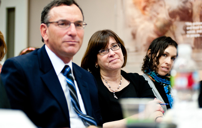 From left:  Steven Klappholz, Institute Executive Director of Development; Sharyn Goodson, Leichtag Family Foundation; and Charlene Seidle, Jewish Community Foundation of San Diego.