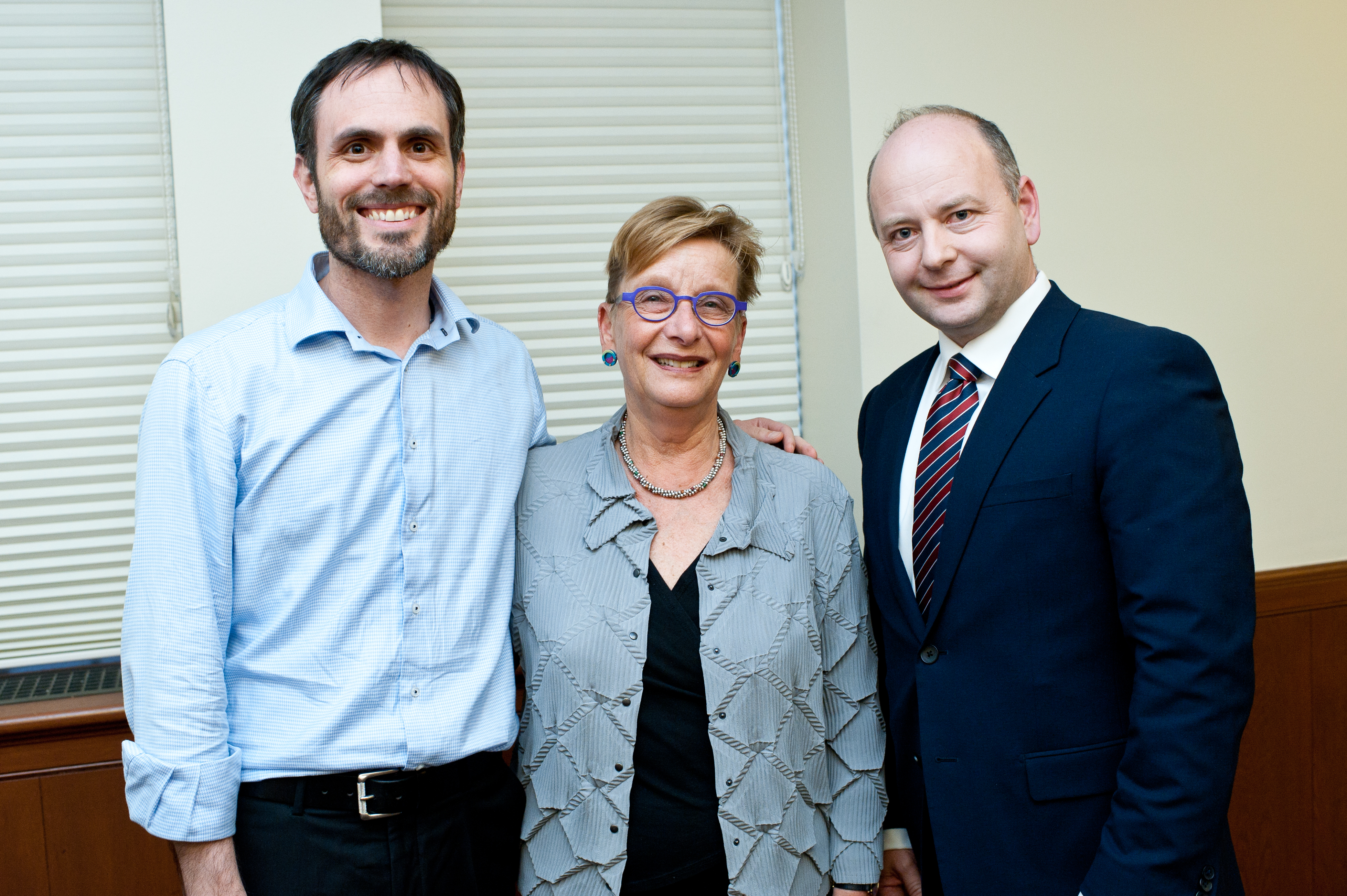 From left: Dr. Dan Leshem, associate director of research, USC Shoah Foundation; Marianne Hirsch; and Stephen D. Smith, executive director, USC Shoah Foundation
