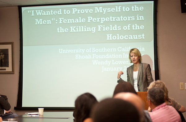 Wendy Lower, Ph.D., addresses USC students.