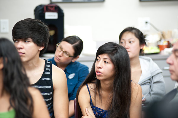 USC students and USC staff member Casey Cohen listen to Wendy Lower.