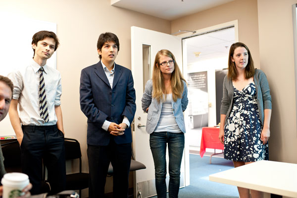 Student research team from the UCLA Institute for Pure and Applied Mathematics' Research in Industrial Projects Program.  From left:  Peter Sugihara, Rodrigo Mendoza Smith, Anna Kuznetsova, and Margo Smith.