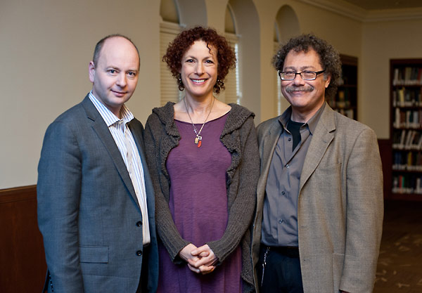 From left to right:  Stephen Smith; USC Theater faculty member Stacie Chaiken; and the President of the Association for Jewish Theater, David Chack.