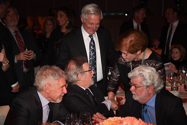 Dr. Deborah Lipstadt with Harrison Ford, Steven Spielberg and George Lucas