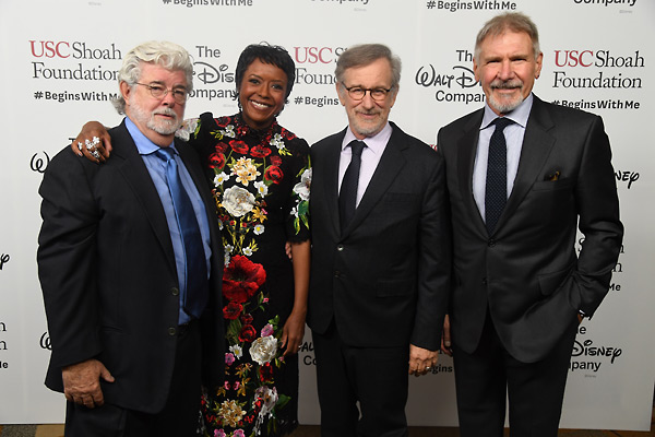 George Lucas, Mellody Hobson, Steven Spielberg and Harrison Ford