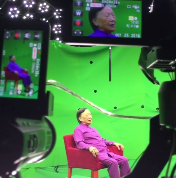 Madame Xia, Nanjing Massacre survivor, being interviewed for Dimensions in Testimony