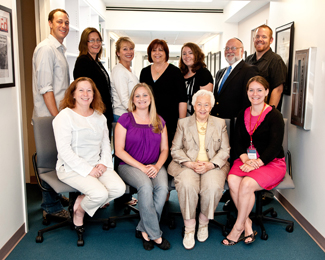 Bottom, from left:  Merri Weir; Teresa Hill; Renée Firestone, Holocaust survivor; and Renée Semik.  Top, from left:  Jeremy Howard; Sheila Hansen, Institute Senior Trainer and Content Specialist; Debora Neel; Sherry Bard, Institute Project Director of Educational Programs; Melissa Jones, Institute Administrative Assistant; Yisroel Blumenstein; and Jonathan Owens.