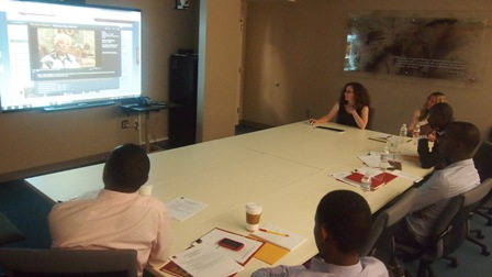 The interns are introduced to IWitness, a new online resource from the Institute.