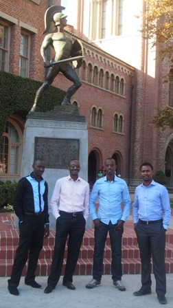 From left:  Diogene Mwizerwa, Paul Rukesha, Martin Niwenshuti, and Yves Kamuronsi.