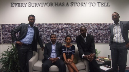 From left:  Yves Kamuronsi, Kigali Genocide Memorial Centre Director; Freddy Mutanguha, Institute staff member; Consolée Uwamariya; Diogene Mwizerwa; and Paul Rukesha.