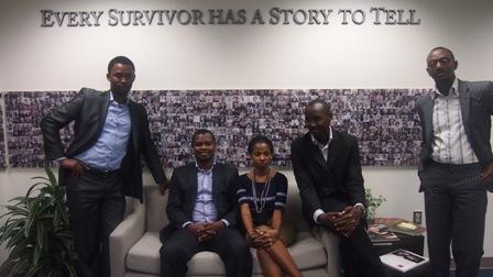 From left:  Yves Kamuronsi, Kigali Genocide Memorial Centre Director; Freddy Mutanguha, Institute staff member; Consolée Uwamariya; Diogene Mwizerwa; and Paul Rukesha.