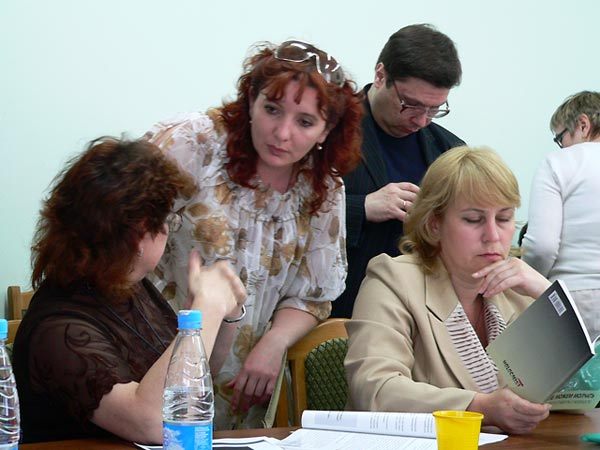 Educators from Belarus and Russia attend a seminar in Novogrudok, Belarus, on how to teach about the Holocaust, June 2008.