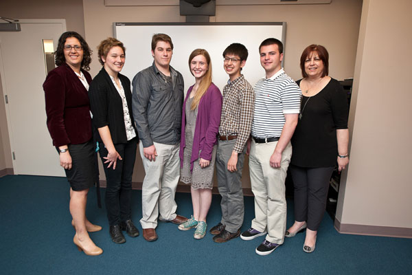 Manovill Holocaust History Fellowship recipients with Sherry Bard, Institute Educational Programs Project Director; and Morgan Blum, Director of Education, JFCS Holocaust Center.