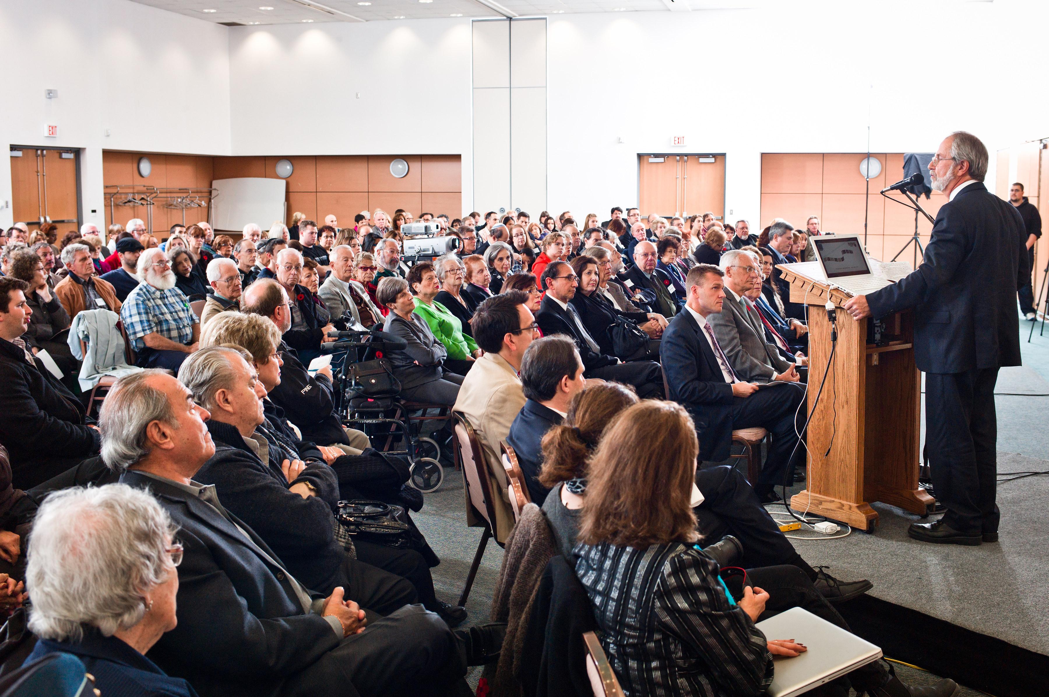 McMaster University President Patrick Dean addresses the audience.