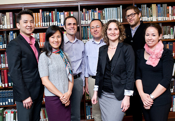Panelists and student organizers pose for a commemorative picture at the (Re)collections event.  From left to right:  Viet Thanh Nguyen, USC doctoral student in Comparative Literature; Ana Paulina Lee; Dan Leshem; Oren Meyers; Neta Kligler-Vilenchik; Josh Kun; and PhD Candidate in the USC Art History Department, Jennifer Reynolds-Kaye.