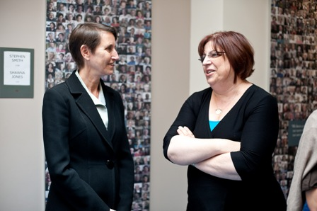 From left:  Elizabeth Edelstein, Director of Education, Museum of Jewish Heritage–A Living Memorial to the Holocaust; and Sherry Bard, Project Director for Educational Programs, USC Shoah Foundation Institute.