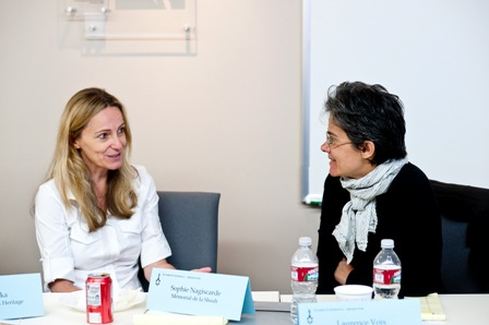 From left:  Karen Jungblut, USC Shoah Foundation Institute Director of Research and Documentation; and Laurence Voix, Coordinator of Multi-Media and Audio-Visual Center, Mémorial de la Shoah.