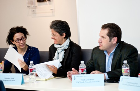 From left:  Sophie Nagiscarde, Head of the Cultural Department, Mémorial de la Shoah; Laurence Voix, Coordinator of Multi-Media and Audio-Visual Center, Mémorial de la Shoah; and Sam Gustman, Chief Technology Officer, USC Shoah Foundation Institute.
