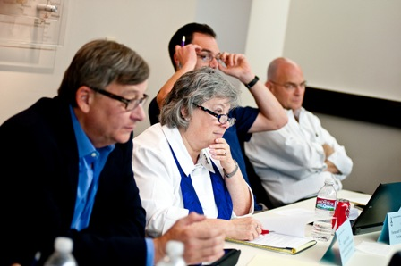 From left:  Joe Kraus, Chief Information Officer, United States Holocaust Memorial Museum; Joanne Rudof, Archivist of the Fortunoff Video Archive, Yale University; Kevin Glick, Head of University Archives and Electronic Records Archivist, Yale University; and Michael Lieber, Chief Information Officer, Yad Vashem.