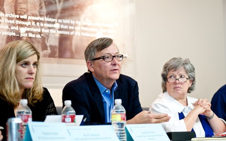 From left:  Kim Simon, USC Shoah Foundation Institute Managing Director; Joe Kraus, Chief Information Officer, United States Holocaust Memorial Museum; and Joanne Rudof, Archivist of the Fortunoff Video Archive, Yale University.