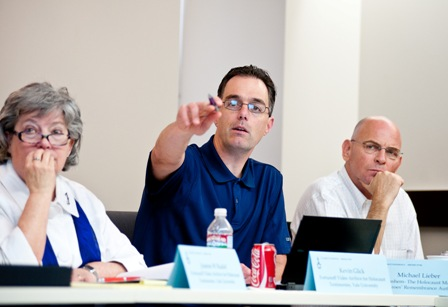 From left:  Joanne Rudof, Archivist of the Fortunoff Video Archive, Yale University; Kevin Glick, Head of University Archives and Electronic Records Archivist, Yale University; and Michael Lieber, Chief Information Officer, Yad Vashem.