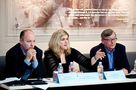 From left:  Stephen D. Smith, USC Shoah Foundation Institute Executive Director; Kim Simon, USC Shoah Foundation Institute Managing Director; and Joe Kraus, Chief Information Officer, United States Holocaust Memorial Museum.