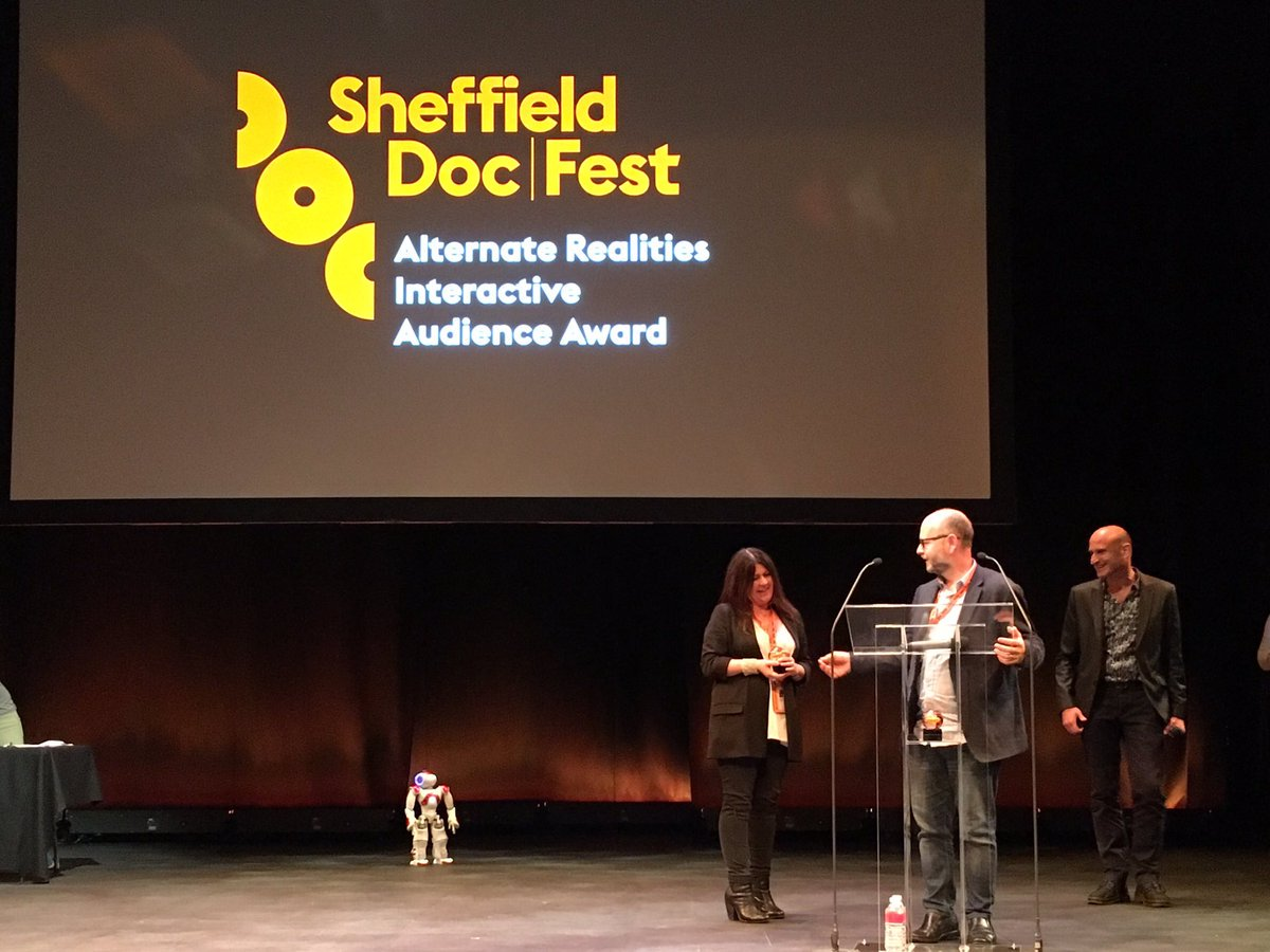 Award ceremony at Sheffield Doc Fest 2016 where the Institute won two honors