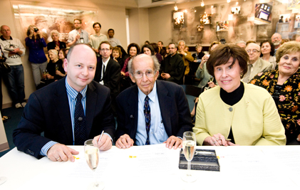 From left:  Stephen Smith, USC Shoah Foundation Institute Executive Director; and Dr. J. Michael Hagopian and his wife, Antoinette Hagopian.