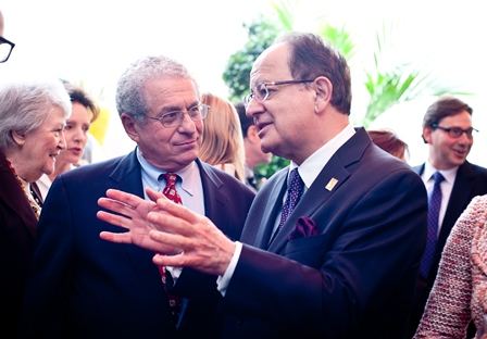 Douglas Greenberg (left), former Executive Director of the USC Shoah Foundation Institute and current Executive Dean of the School of Arts and Sciences, Rutgers University; and C. L. Max Nikias, President of USC.