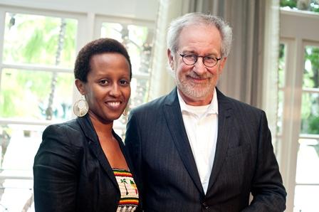 Edith Umugiraneza (left), a survivor of the Rwandan Tutsi genocide; and Steven Spielberg.