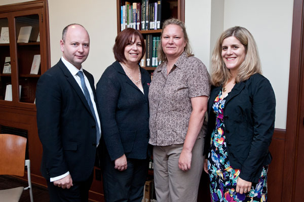 Left to right:  Stephen D. Smith, USC Shoah Foundation Institute Executive Director; Sherry Bard, USC Shoah Foundation Institute Educational Programs, Project Director; Deb Chad, Facing History and Ourselves; and Kim Simon, USC Shoah Foundation Institute Managing Director.