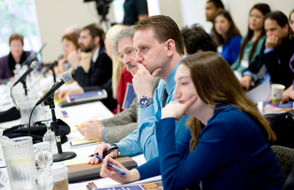 Leah Wolfson (foreground), Applied Research Scholar, United States Holocaust Memorial Museum; and Ronald Coleman, Reference Librarian, United States Holocaust Memorial Museum.
