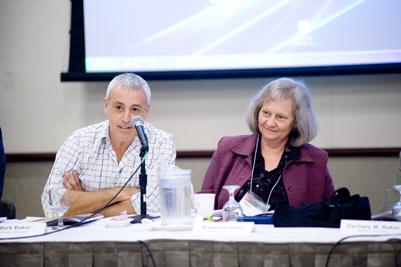 From left:  Mark Baker, Director of the Australian Centre for Jewish Civilisation, Monash University; and Rosalind Olsen, Librarian, Australian Studies, Monash University.