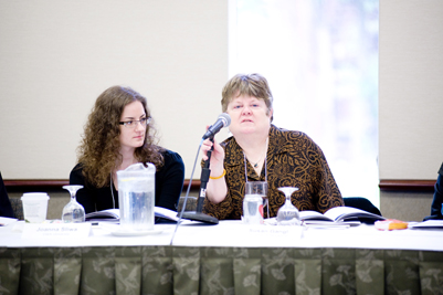From left:  Joanna Sliwa, Doctoral Candidate, Strassler Center for Holocaust and Genocide Studies, Clark University; and Susan Gangl, Associate Librarian for Jewish Studies, Philosophy, and Religious Studies, University of Minnesota.